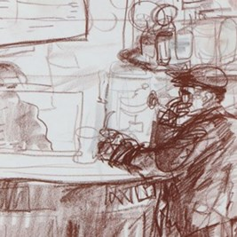 Drawings from the 'café series', circa 1970